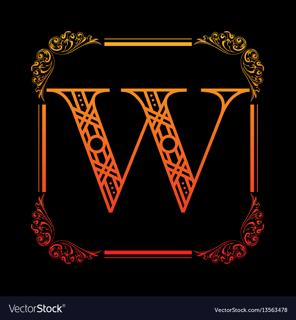 Letter w with ornament