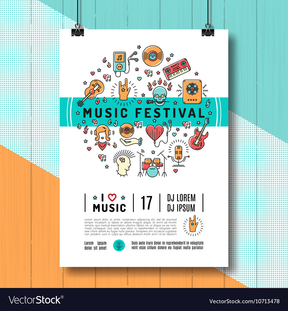 Music festival poster template A4 size line art