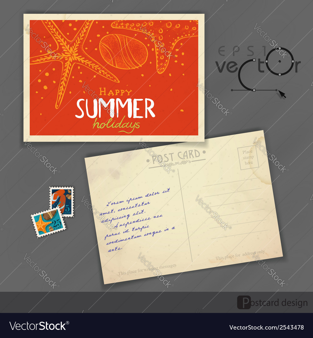 old postcard design template royalty free vector image