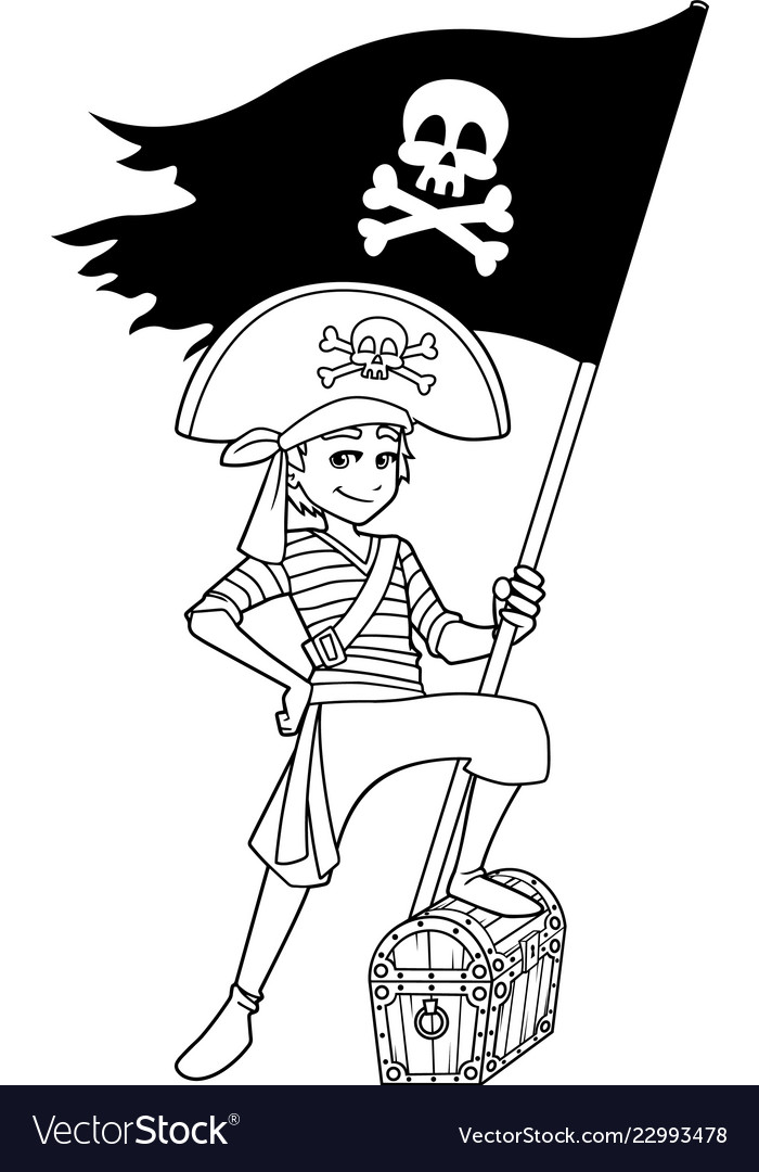 Pirate boy line art