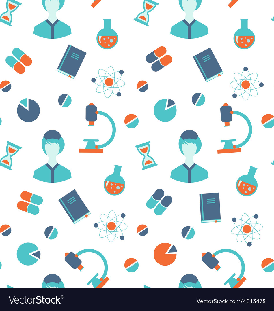 Seamless Pattern with Chemical and Medical Objects