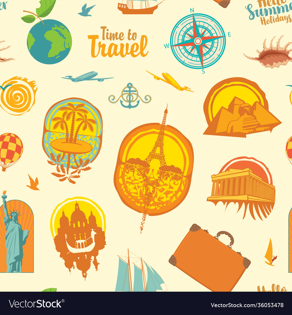 Seamless pattern with travel stickers or icons
