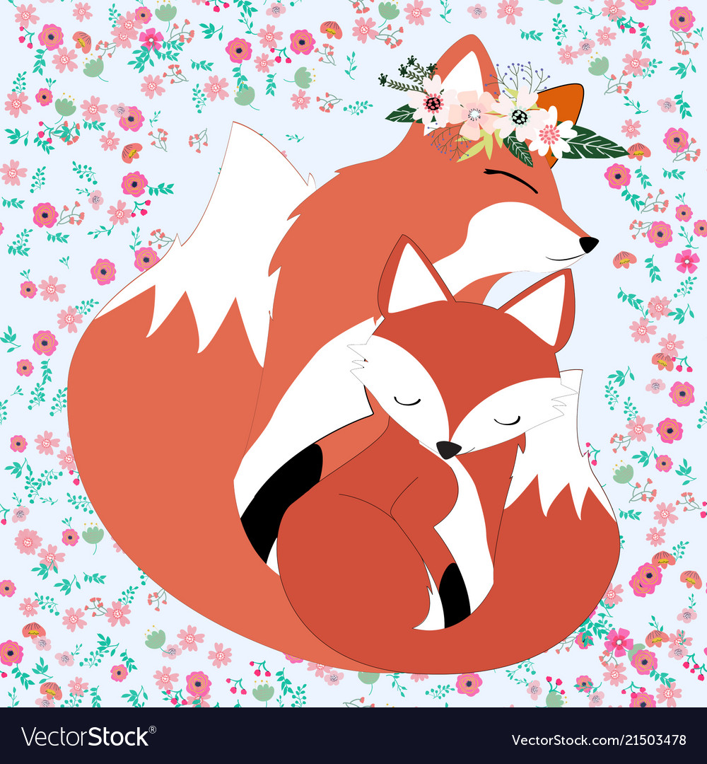 Seamless vintage cute fox mom and baby in flower