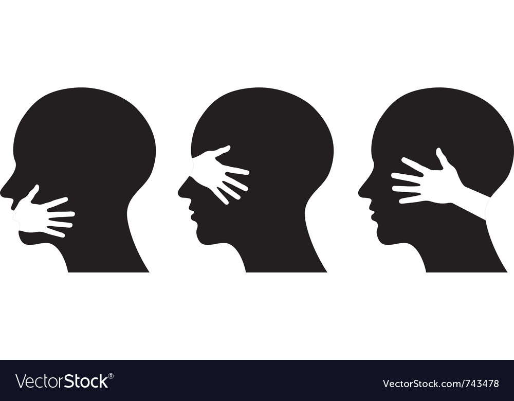 Set silhouettes of heads