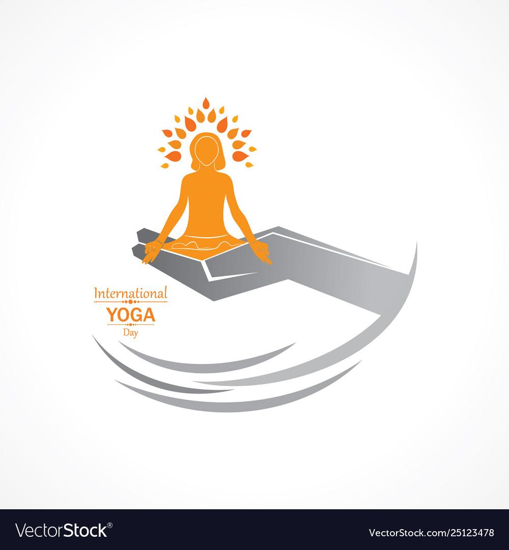 Woman doing yogasan for international yoga day