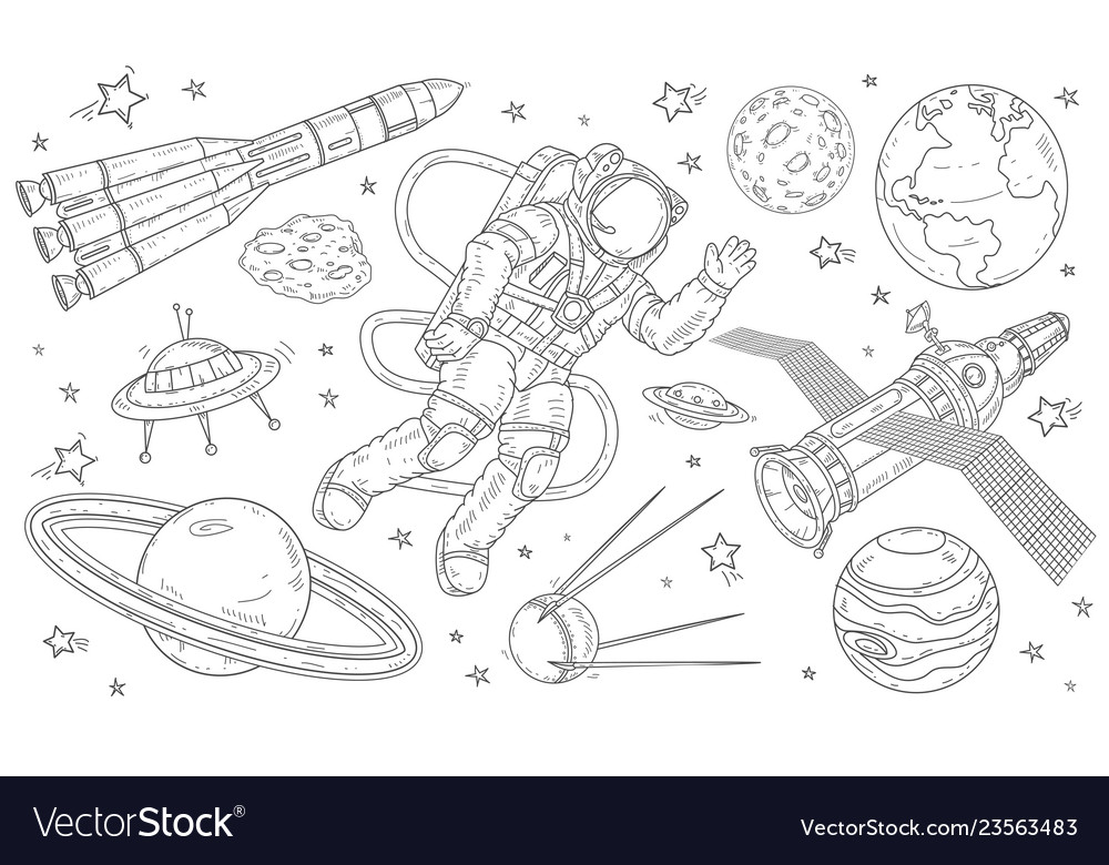 Astronaut flying in space