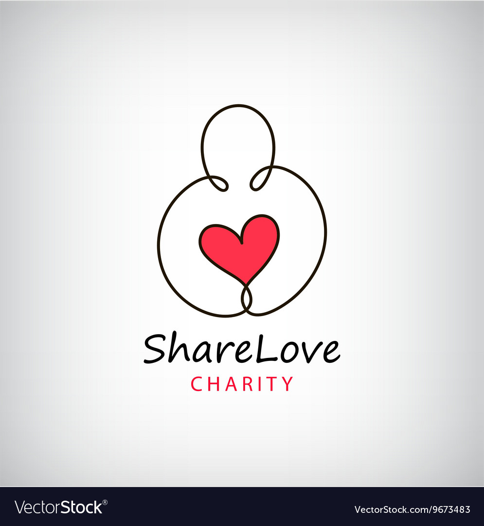 Charity logo heart in hand symbol sign
