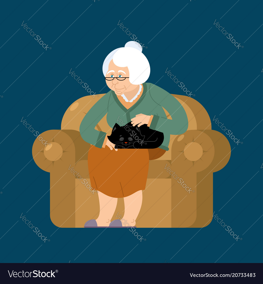 Grandmother and cat sitting on chair granny cat