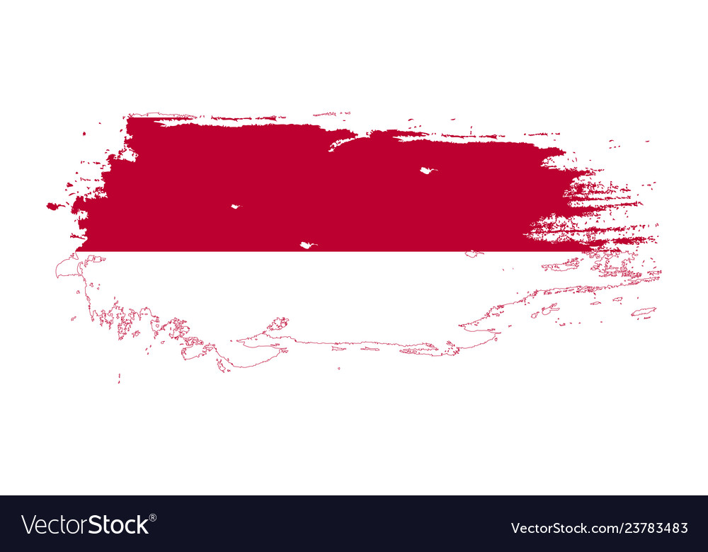grunge brush stroke with indonesia national flag vector image vectorstock