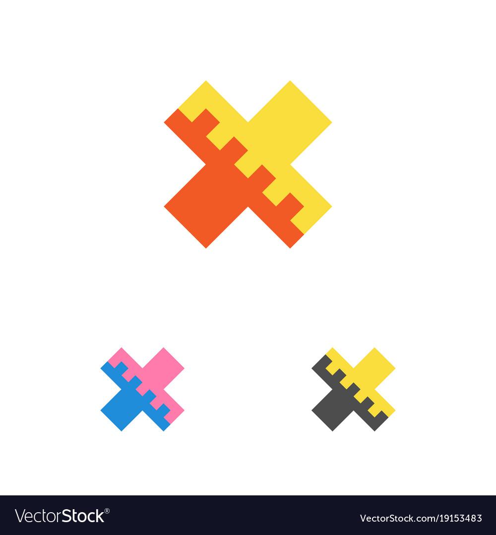 Letter x logo template cross logotype emblem vector image