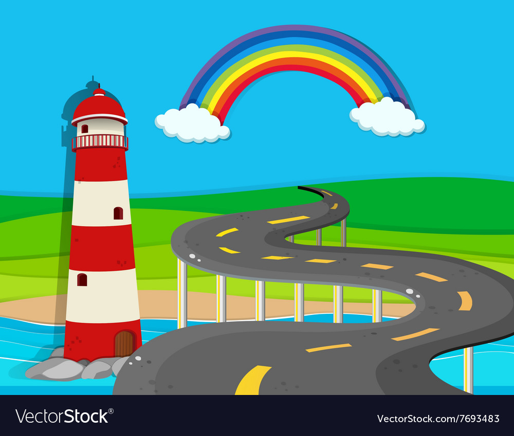 Nature scene with lighthouse and road