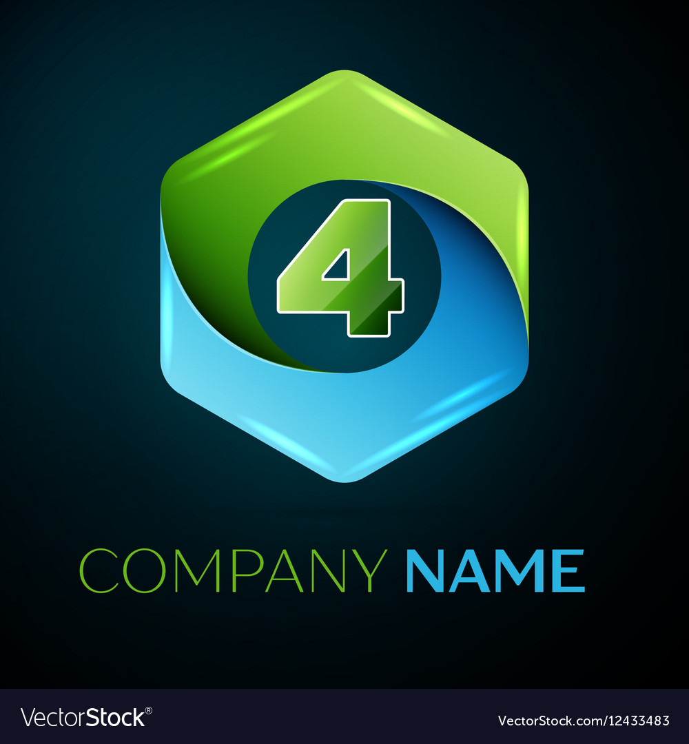 Number four logo symbol in the colorful hexagonal