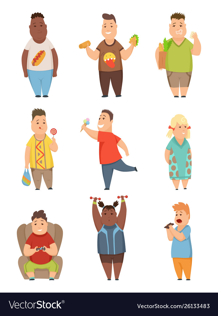 Overweight boys and girls set cute chubby
