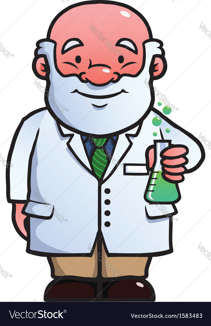Scientist holding a flask