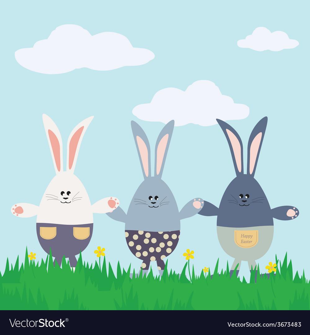 Three bunnies Happy Easter Card vector image