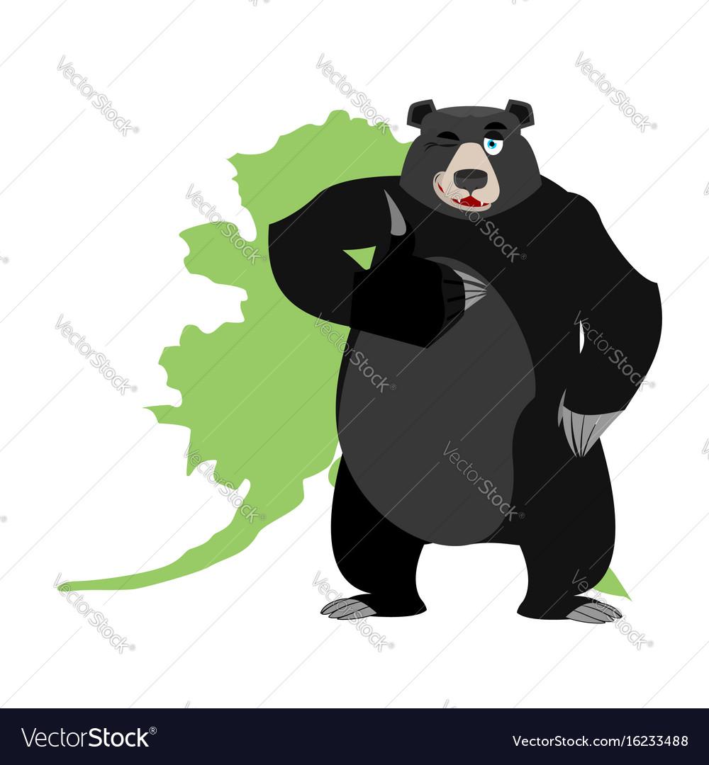 Baribal and alaska map american black bear vector image
