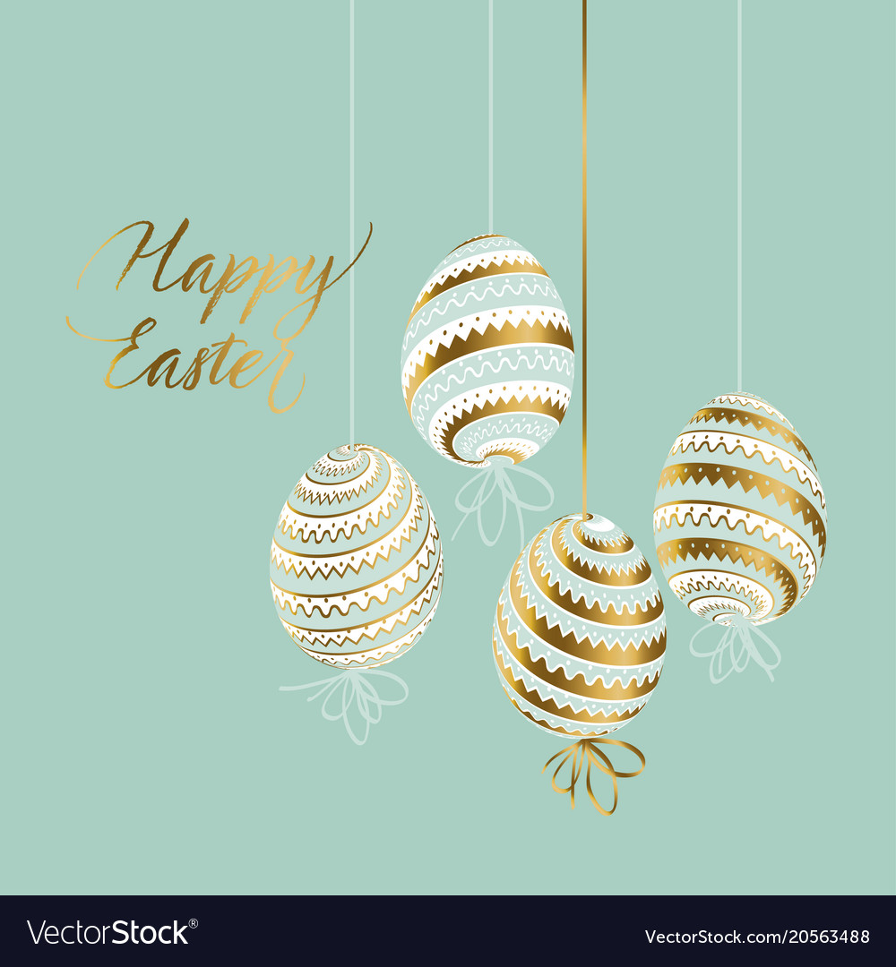Elegant gold and pastel color easter eggs