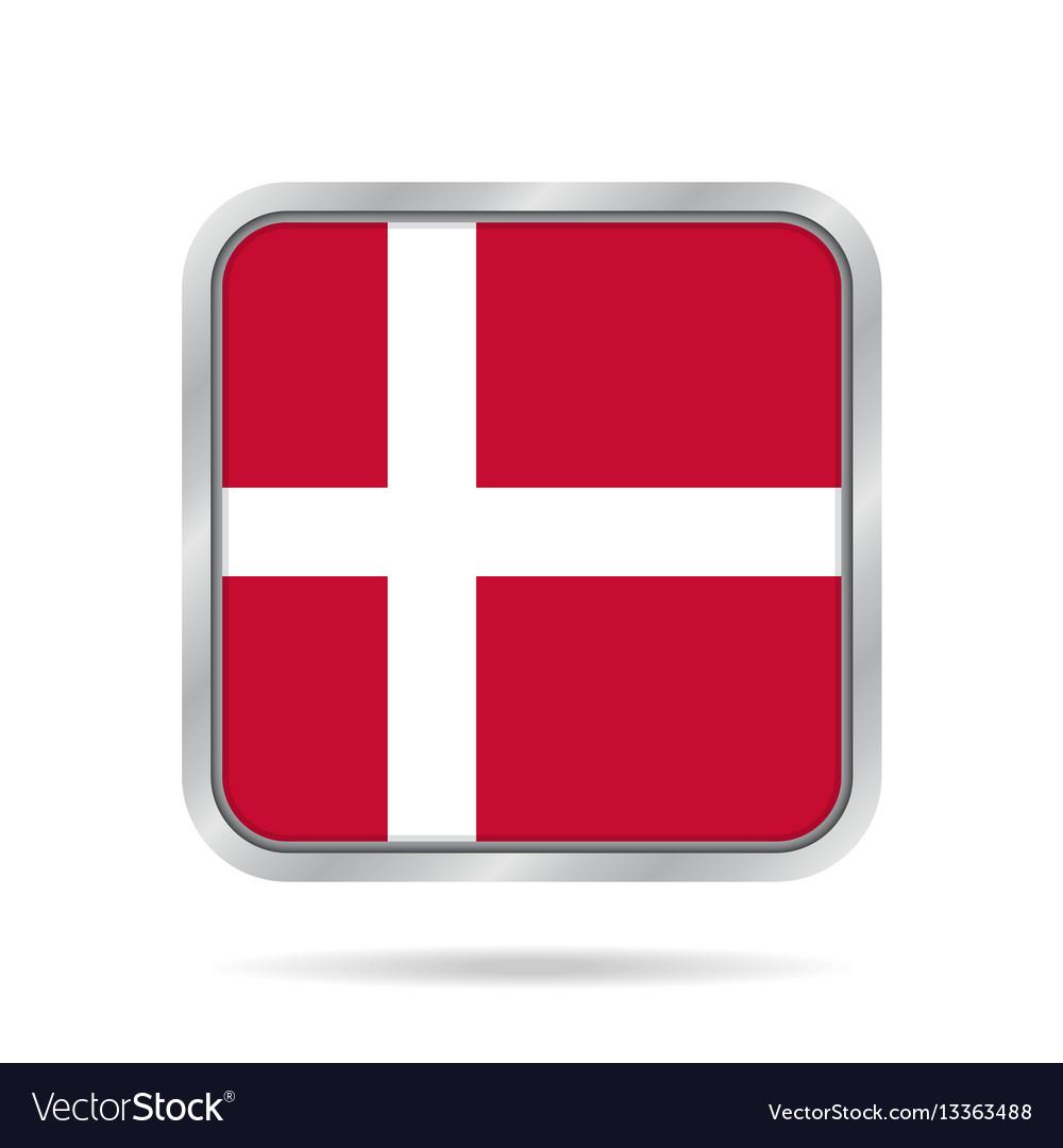 Flag of denmark shiny metallic gray square button