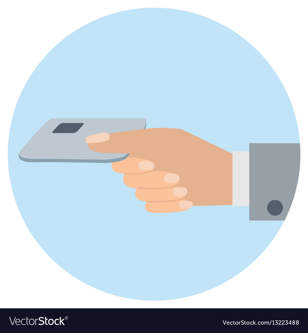 Hand holds credit card flat