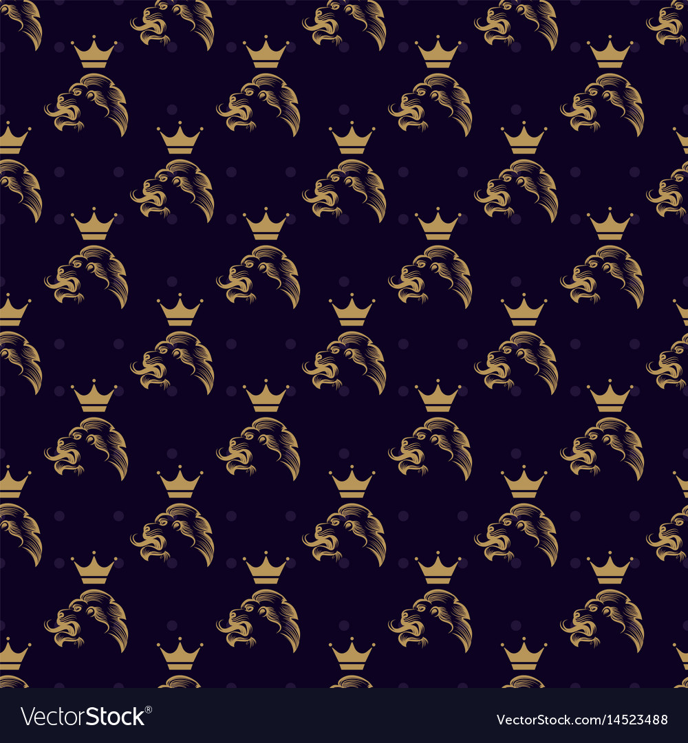 Lion and crown seamless pattern