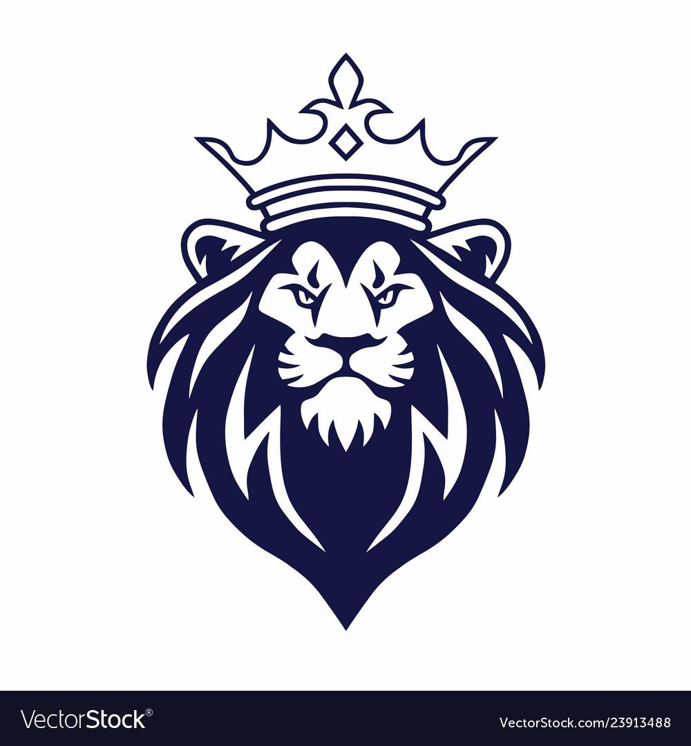 Lion with crown logo design