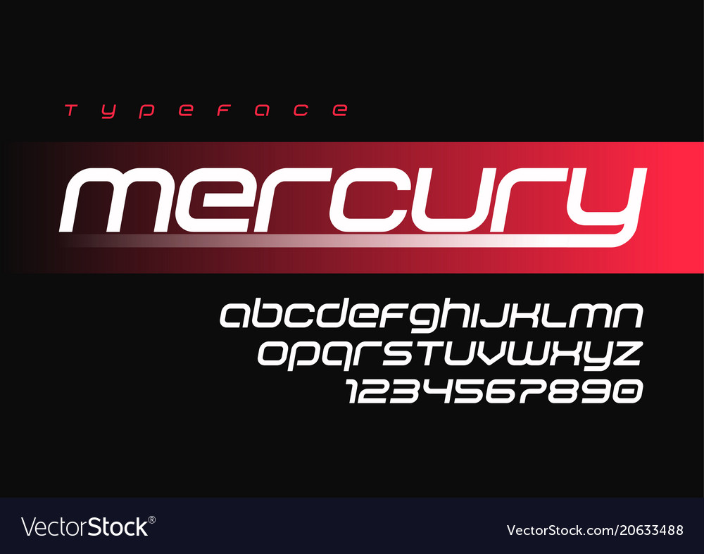 Mercury futuristic sports font design alphabet