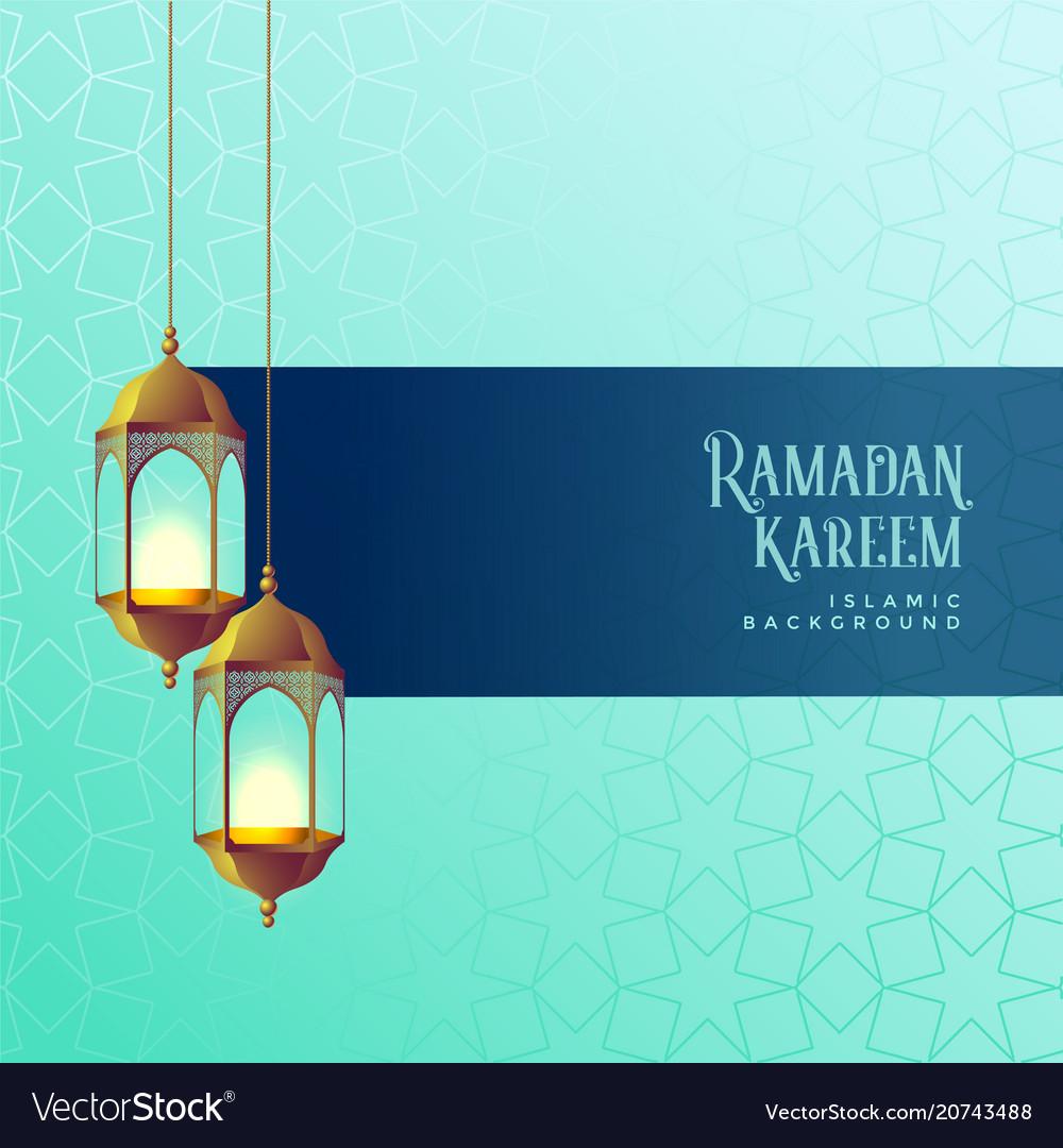 Ramadan kareem festival card design with hanging