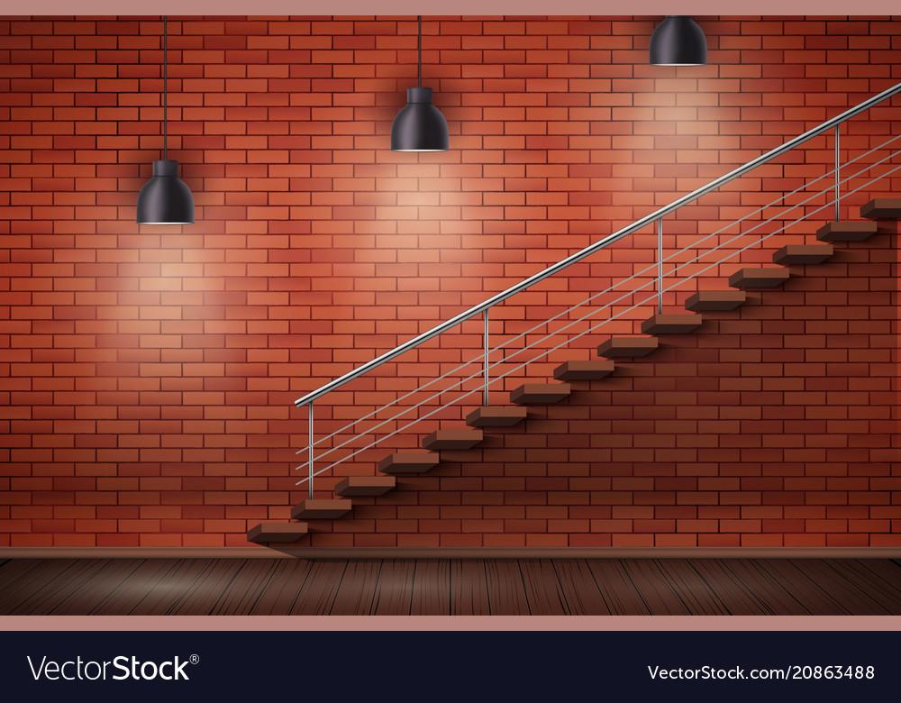 Red Brick Wall Loft Interior Royalty Free Vector Image
