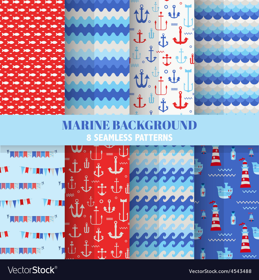 Set of Marine Backgrounds - Sea Time Patterns