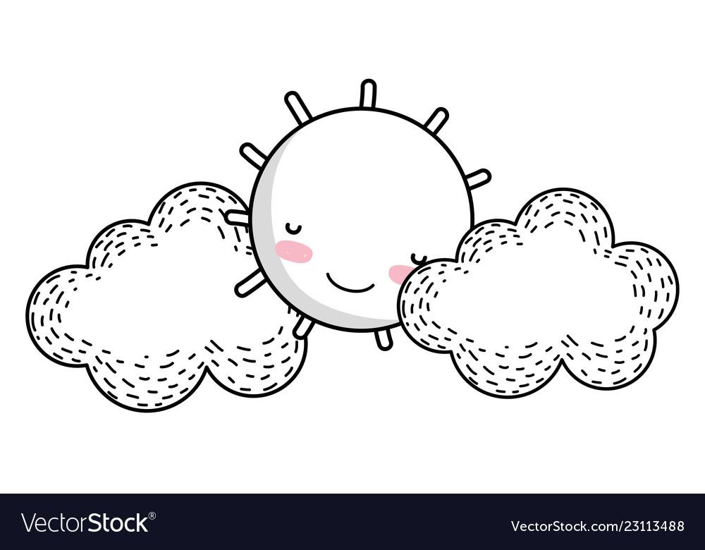 Sun and clouds drawing cartoon