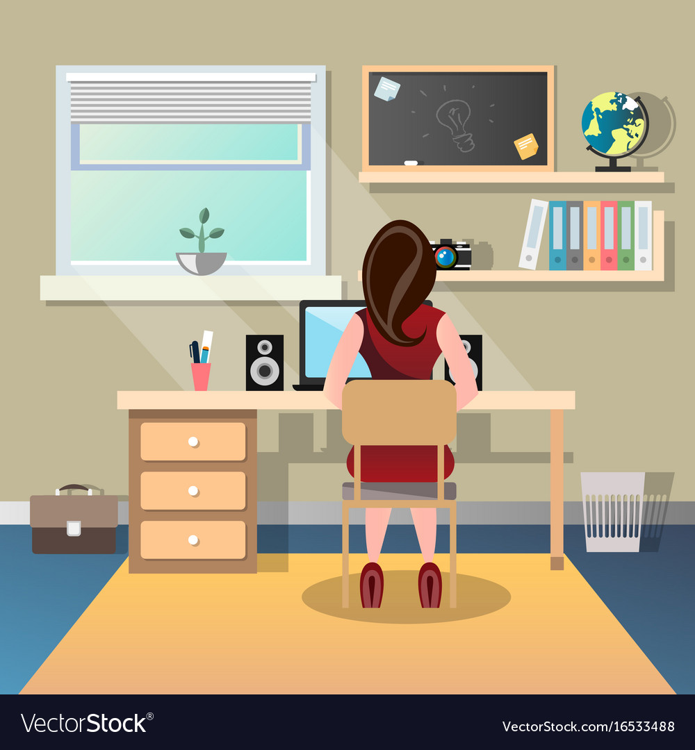 Woman sitting at a desk and working on the vector image