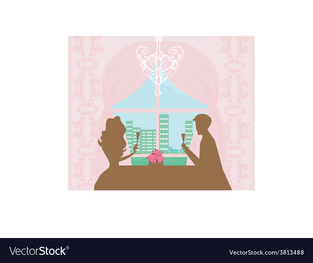 Young couple flirt and drink champagne vector image