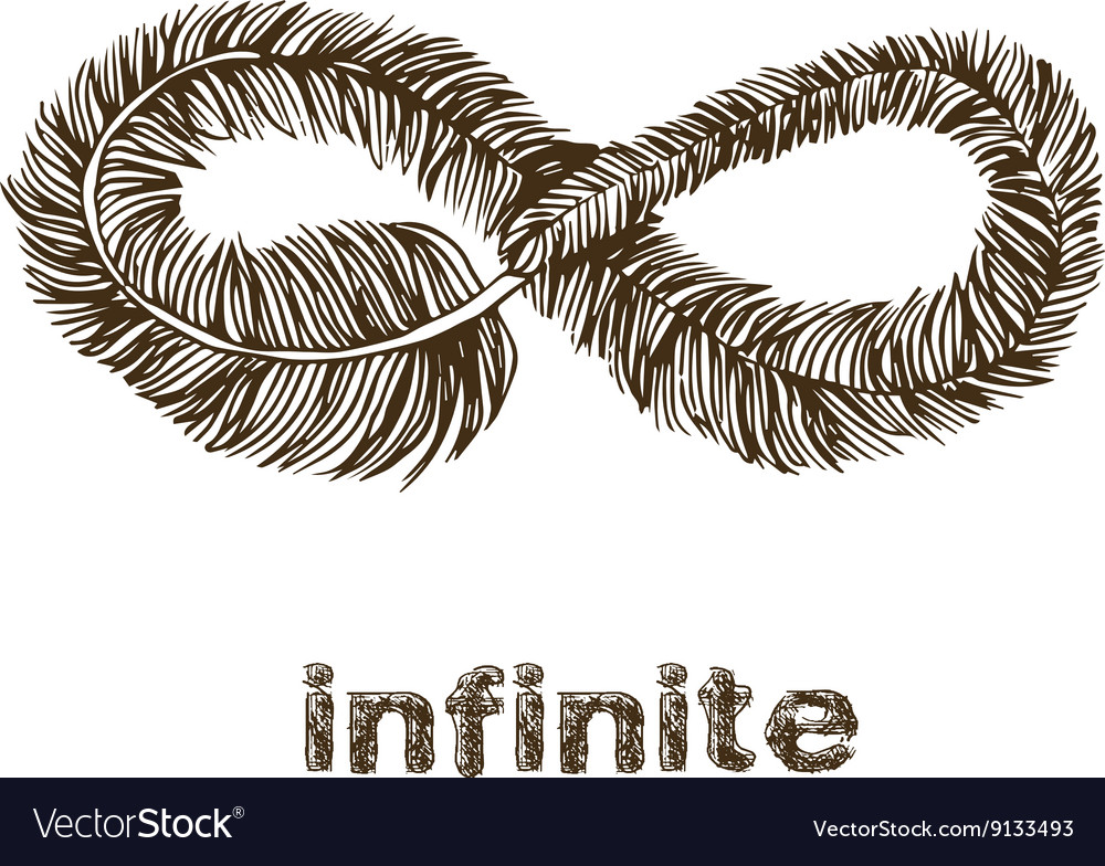 Infinite feather line drawing