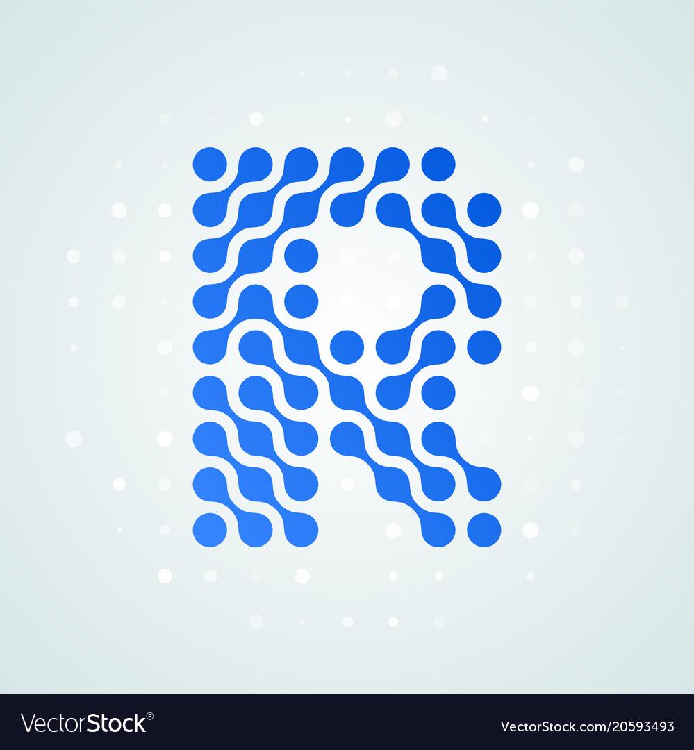 Letter r logo halftone icon