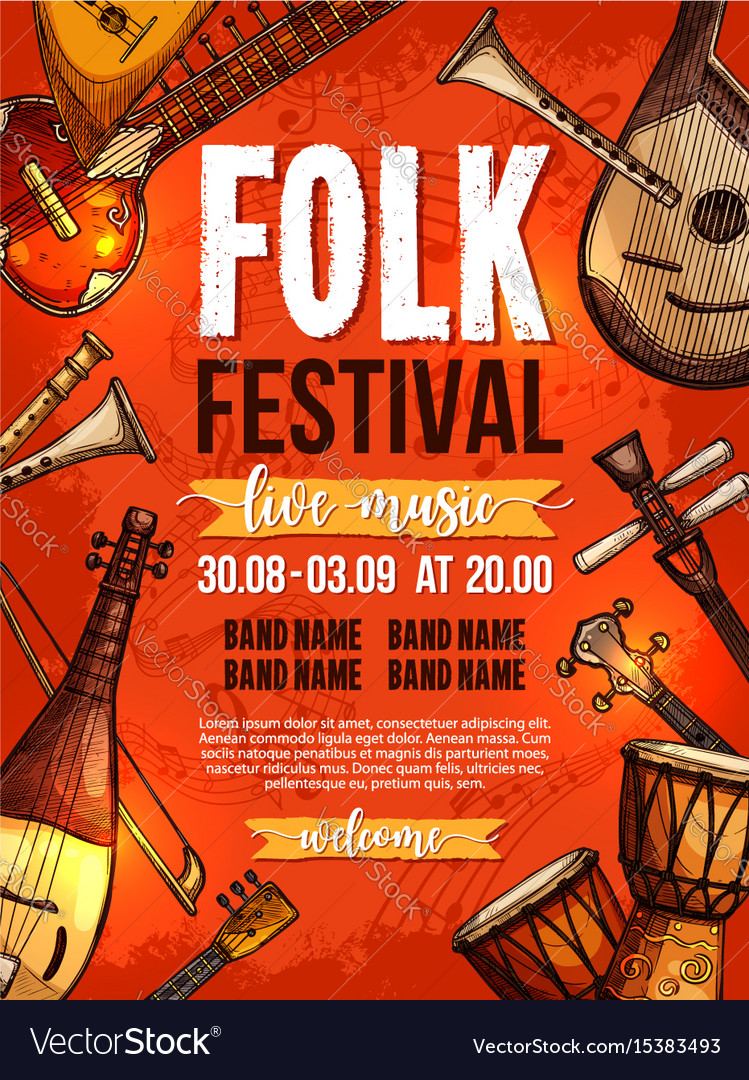 Music festival poster template vector image
