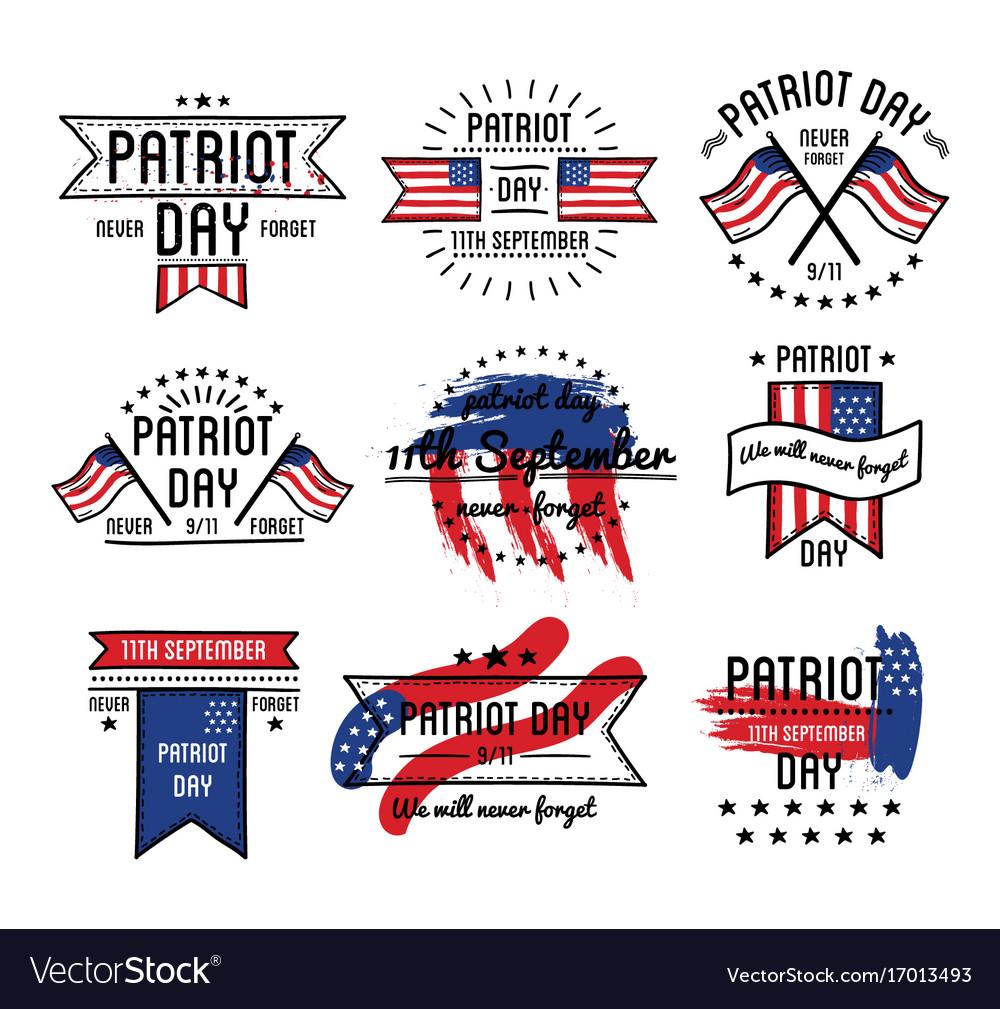 Patriot day on 11th of september emblems set vector image