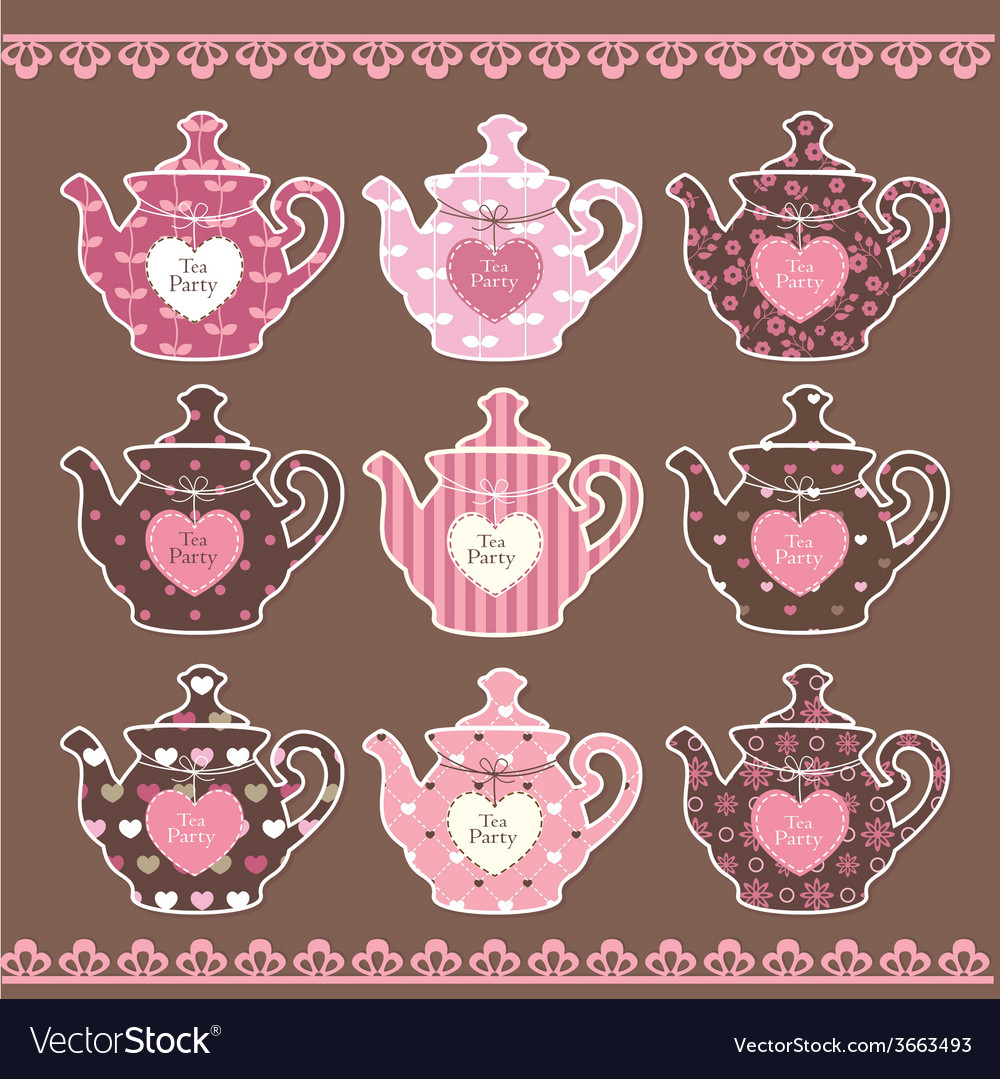 Set of vintage teapots vector image