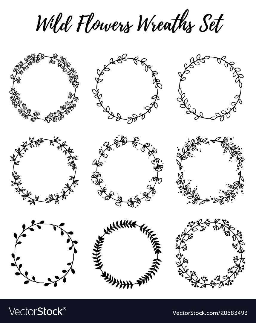 Set of wild flowers wreaths isolated on white