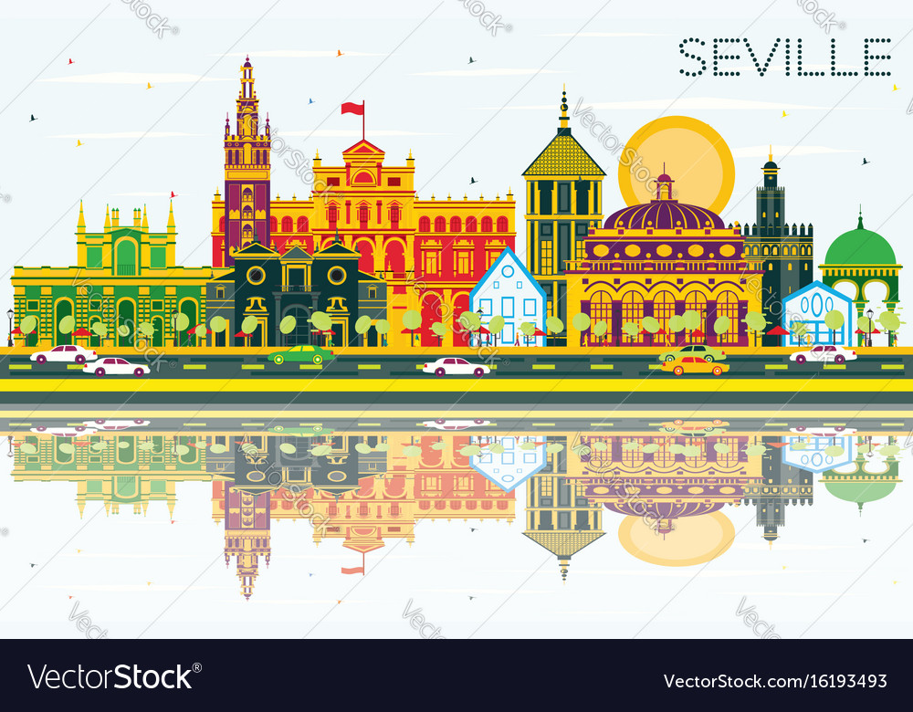 Seville skyline with color buildings blue sky and