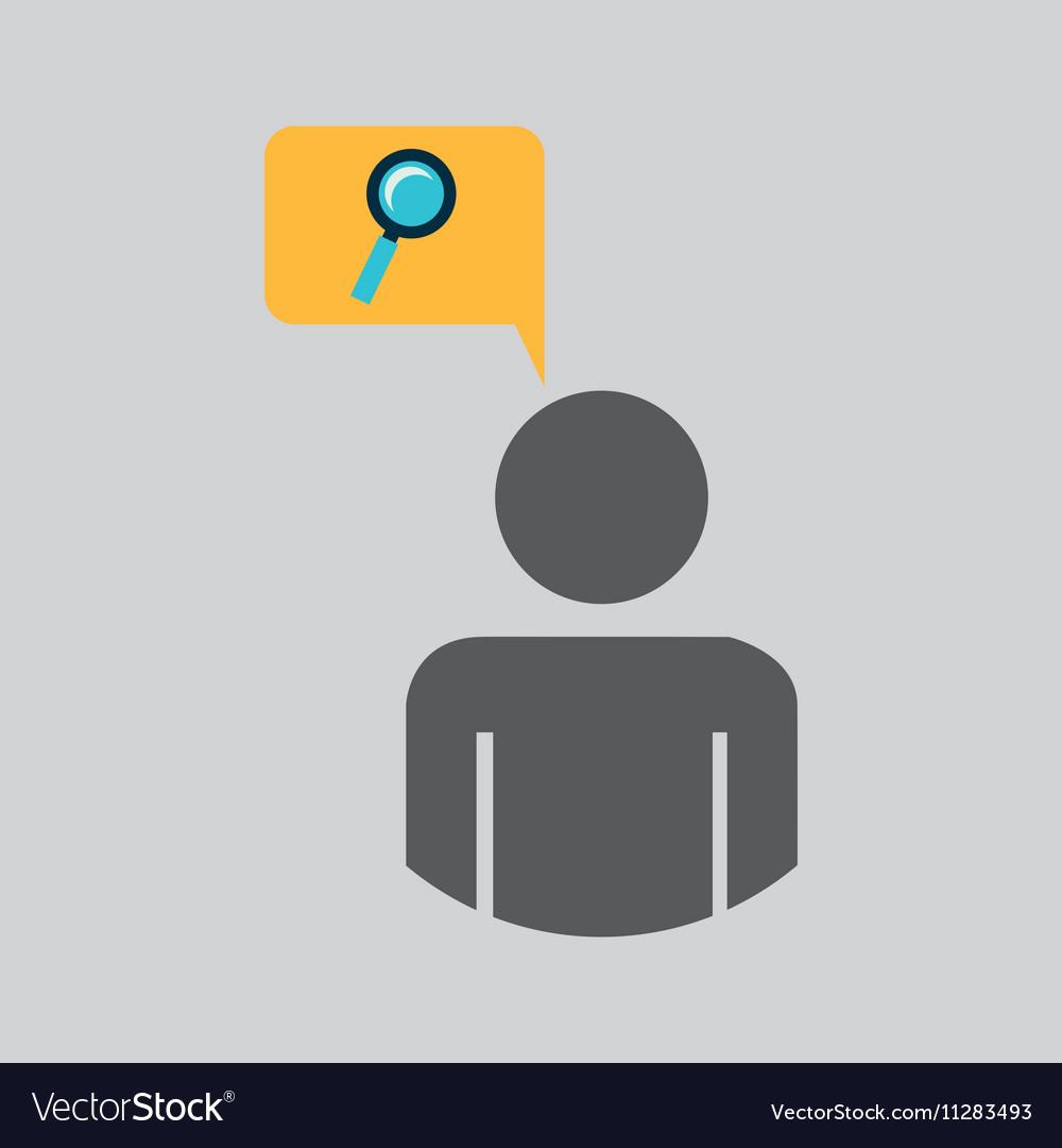 Silhouette blue man search look design icon