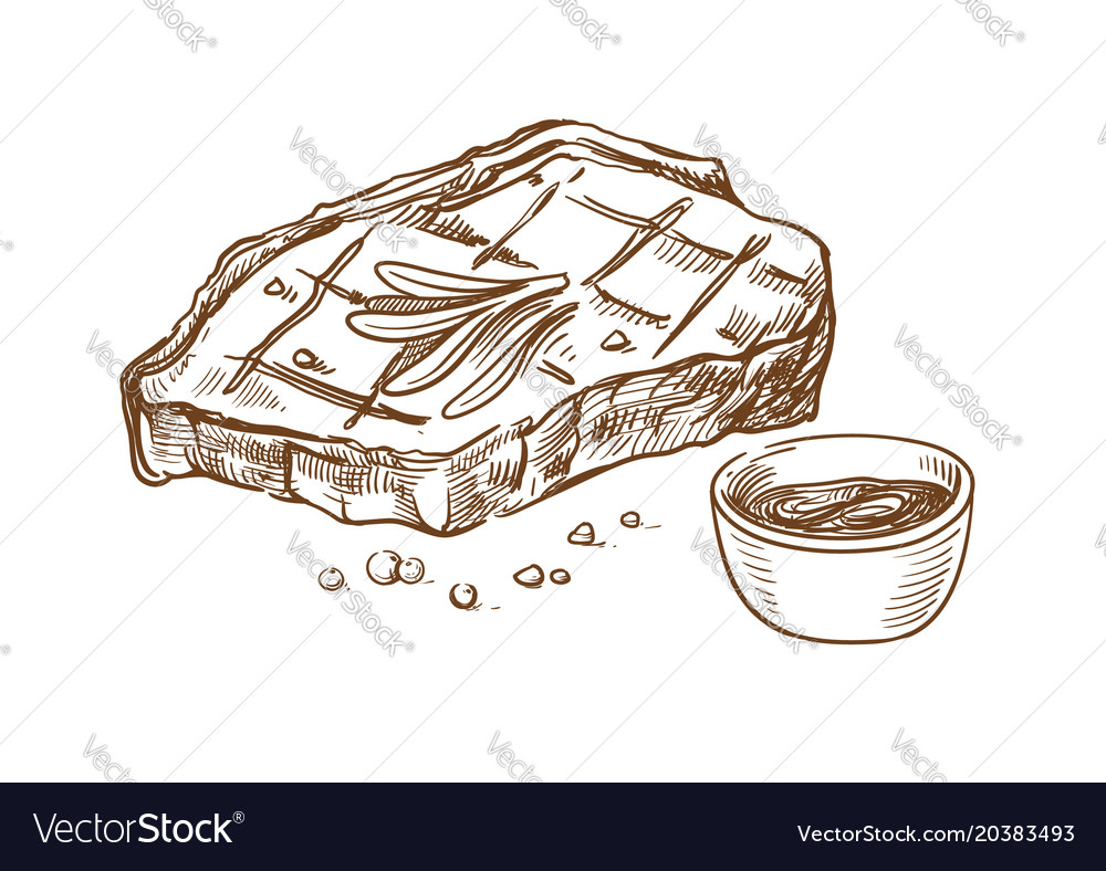 Steak meat hand drawing vector image