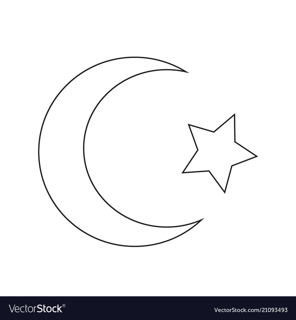 Symbol Of Islam Star Crescent Icon Royalty Free Vector Image