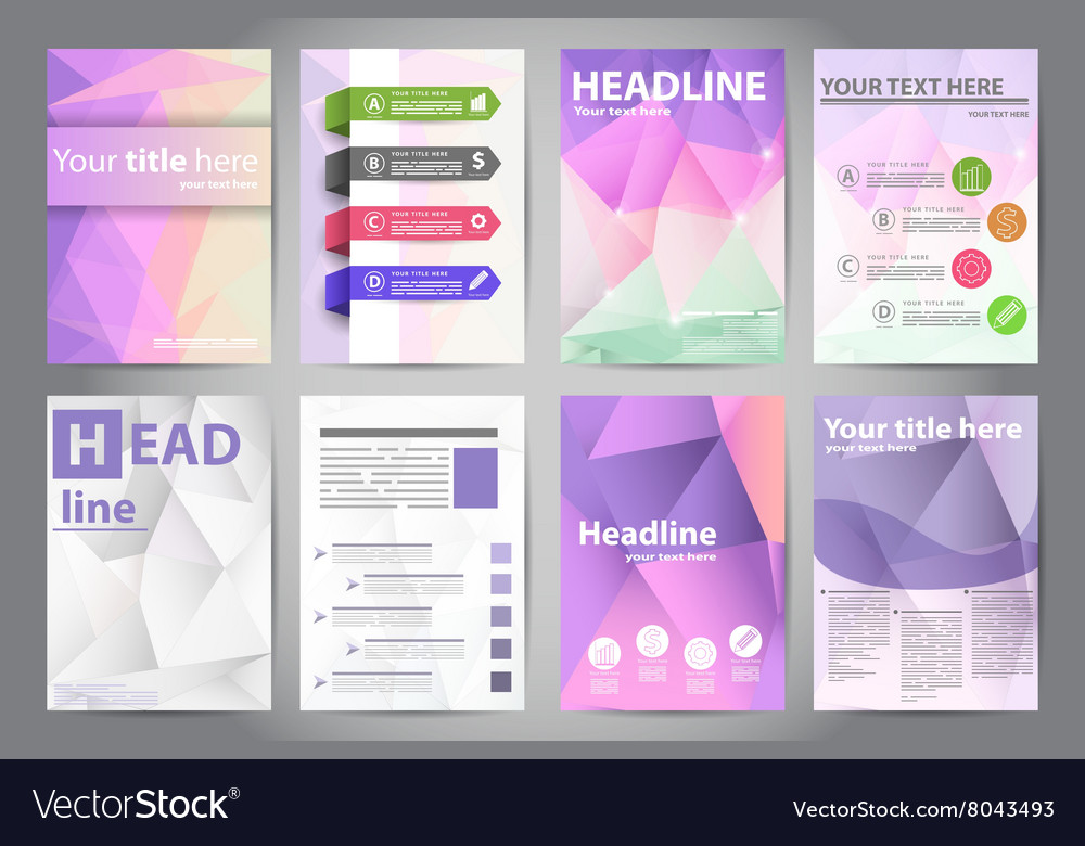 Template design brochures in polygon style