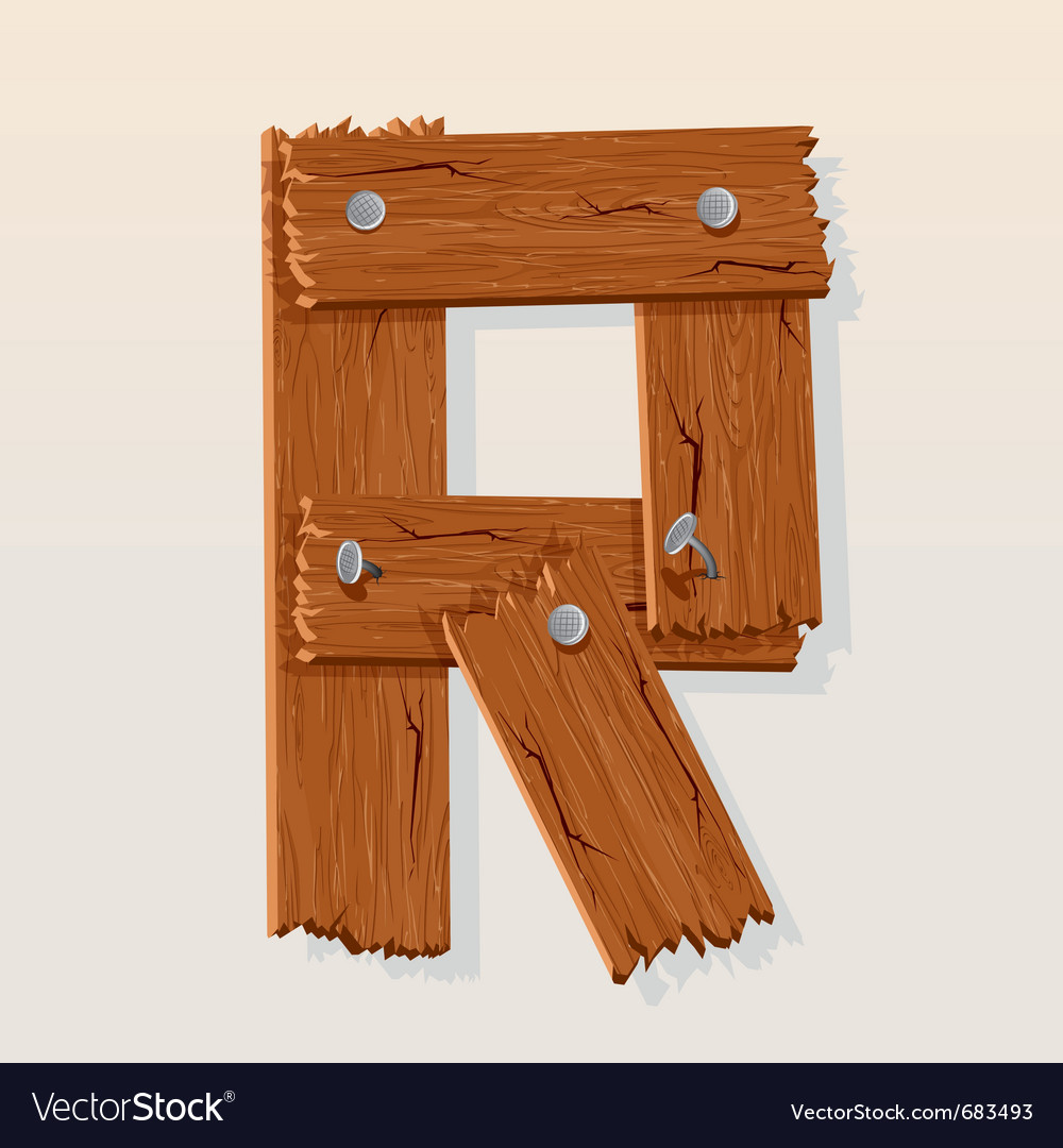 Wooden letter r Royalty Free Vector Image   VectorStock