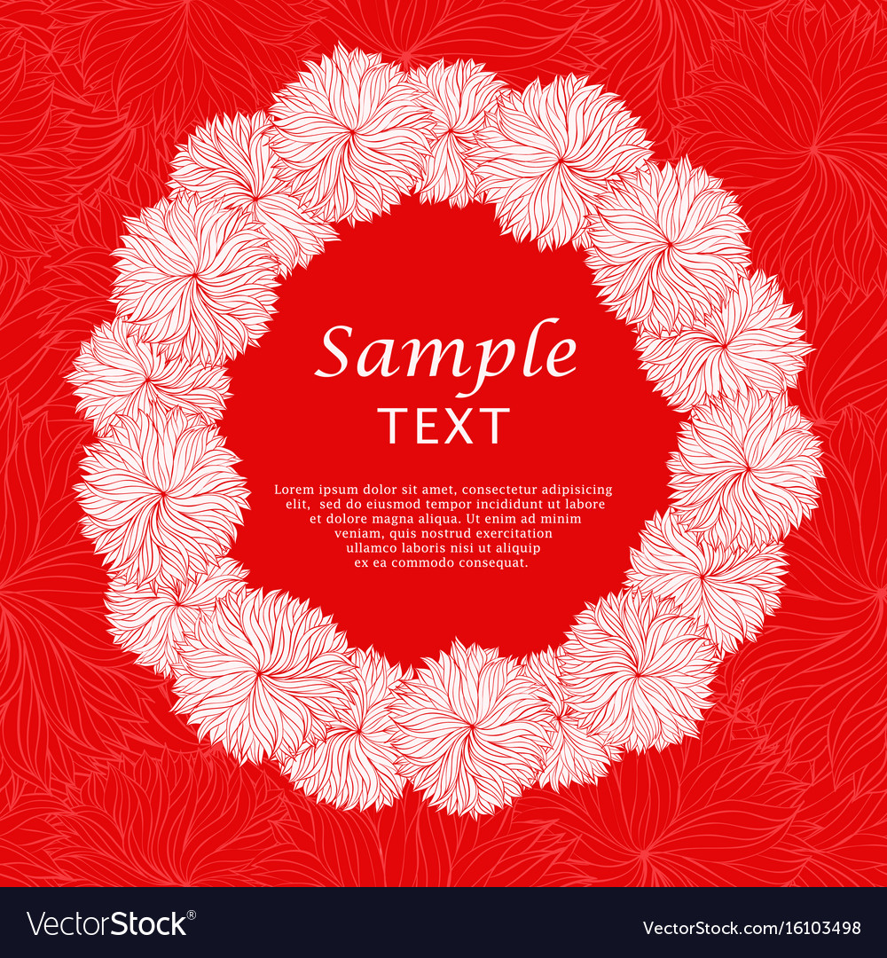 Abstract red floral frame vector image