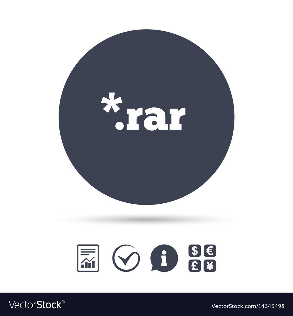 Rar file document icon download rar button icon vector image.