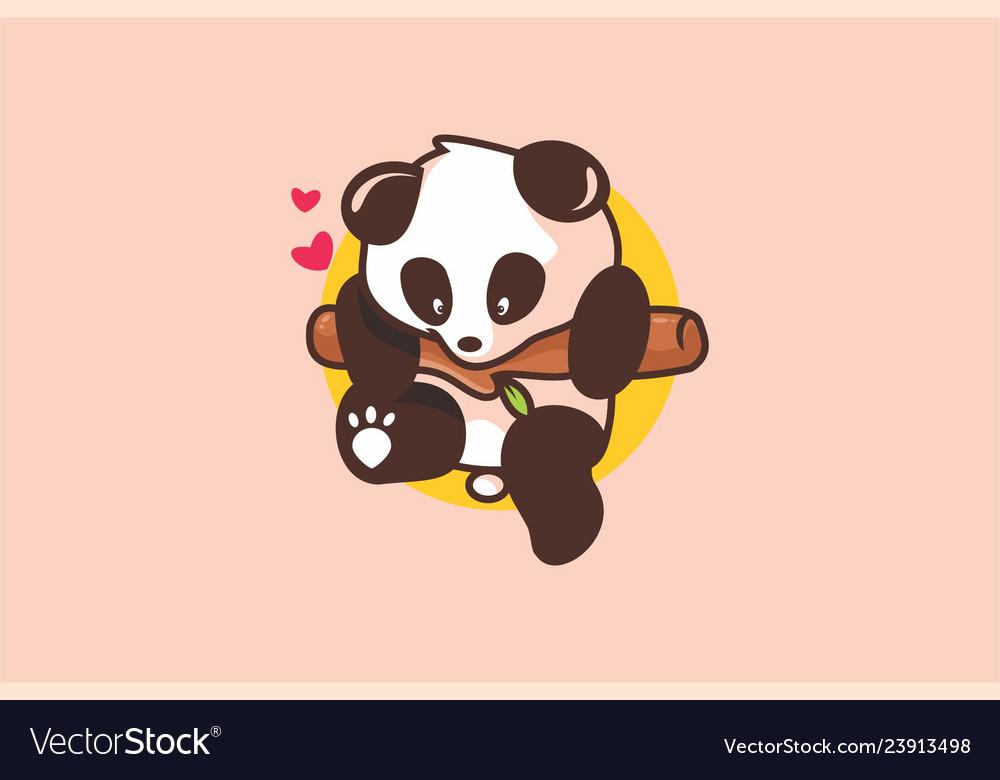 Baby cute panda logo