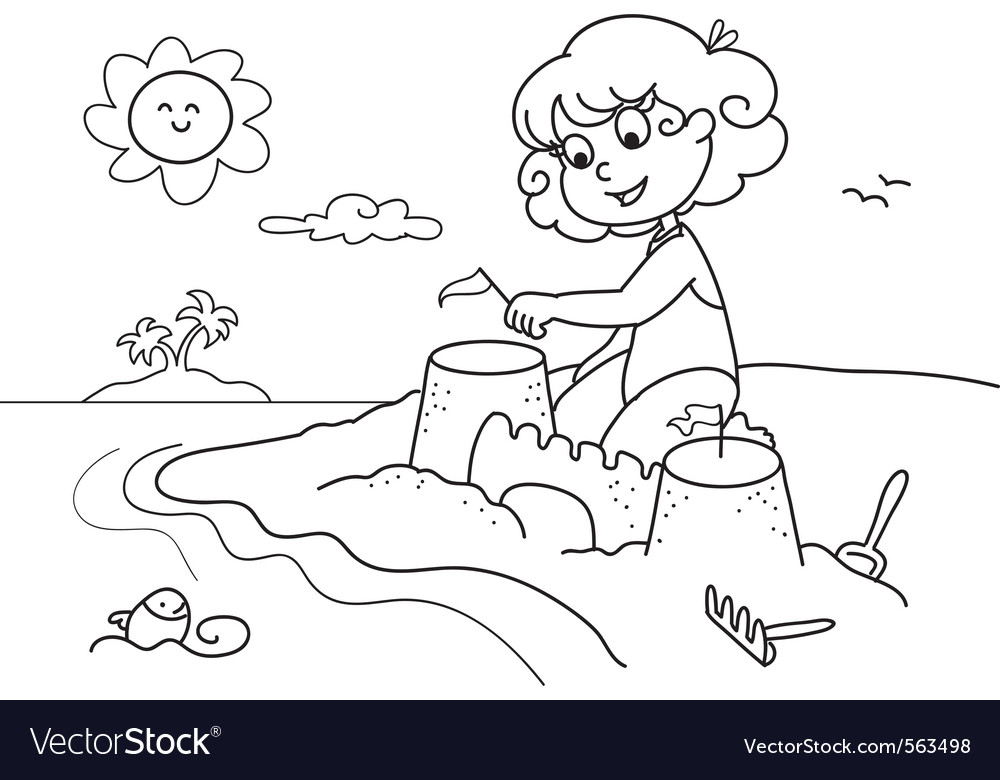 Coloring young girl at the beach
