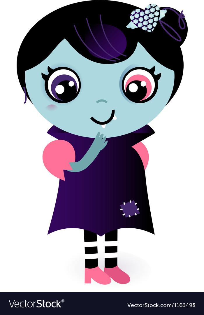 Cute thinking Valentine Vampire girl vector image