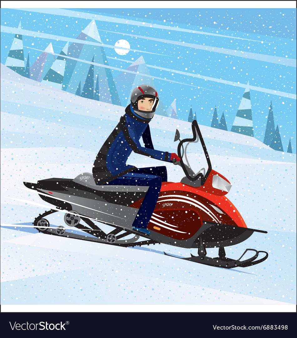 Man riding on a snowmobile